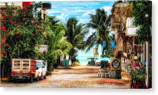 Mexican Side Street Canvas Print by Gina Cormier