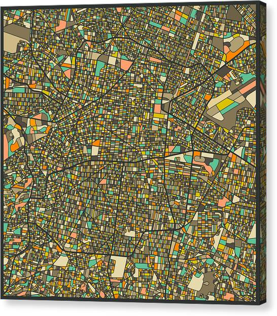Mexican Canvas Print - Mexico City Map by Jazzberry Blue