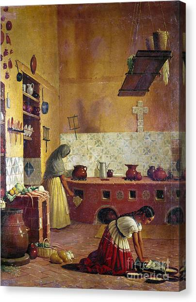 Oven Canvas Print - Mexico: Kitchen, C1850 by Granger