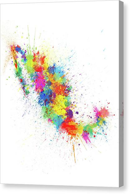 Mexican Canvas Print - Mexico Paint Splashes Map by Michael Tompsett