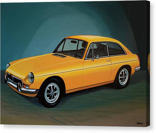 Oldtimers Canvas Print - Mgb Gt 1966 Painting  by Paul Meijering