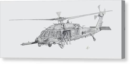 Blackhawk Canvas Print - Mh60 With Gun by Nicholas Linehan