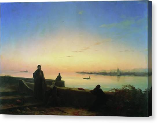 St Lazarus Canvas Print - Mhitarists On Island Of St Lazarus 1843 by Aivazovsky Ivan