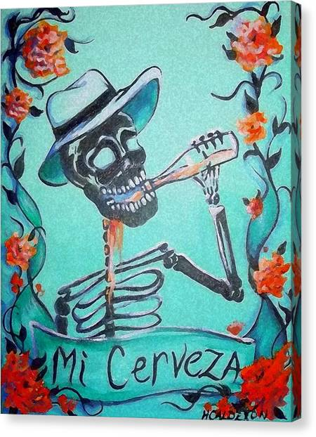 Skeleton Canvas Print - Mi Cerveza by Heather Calderon