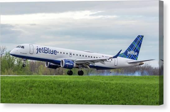 Jetblue Canvas Print - Mi Corazon Azul by Guy Whiteley