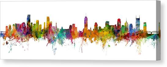 Miami Skyline Canvas Print - Miami And Nashville Skylines Mashup by Michael Tompsett
