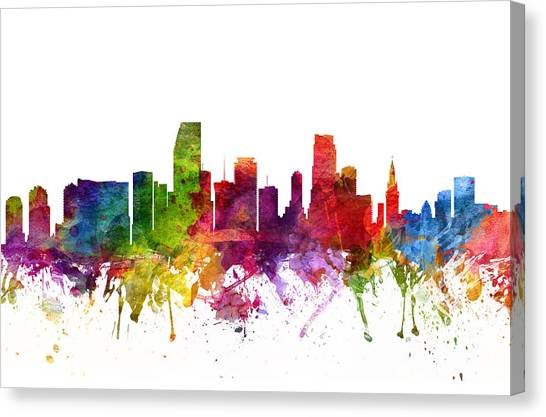 Miami Skyline Canvas Print - Miami Cityscape 06 by Aged Pixel