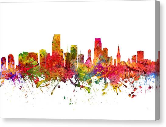 Miami Skyline Canvas Print - Miami Cityscape 08 by Aged Pixel