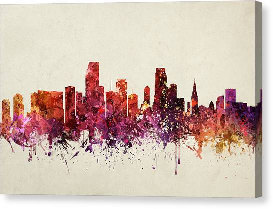 Miami Skyline Canvas Print - Miami Cityscape 09 by Aged Pixel