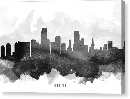 Miami Skyline Canvas Print - Miami Cityscape 11 by Aged Pixel