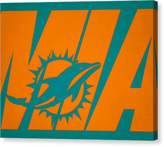 Miami Dolphins Canvas Print - Miami Dolphins City Name by Joe Hamilton