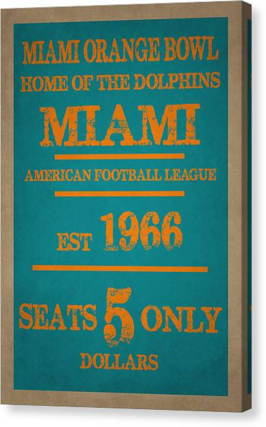Miami Dolphins Canvas Print - Miami Dolphins Sign by Joe Hamilton