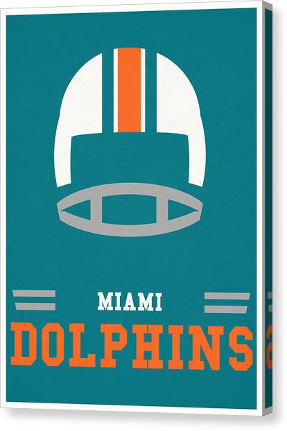 Miami Dolphins Canvas Print - Miami Dolphins Vintage Nfl Art by Joe Hamilton