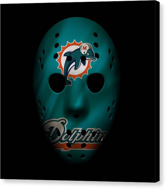 Miami Dolphins Canvas Print - Miami Dolphins War Mask 2 by Joe Hamilton
