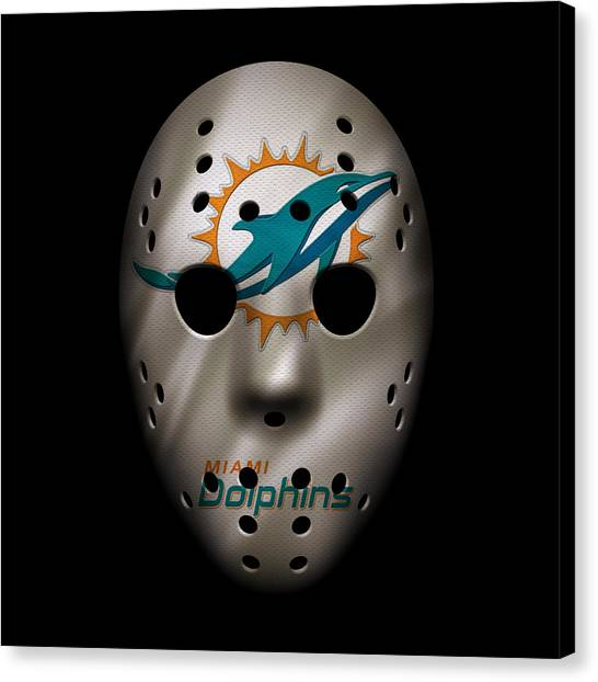Miami Dolphins Canvas Print - Miami Dolphins War Mask by Joe Hamilton