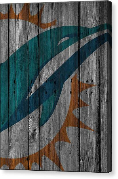 Miami Dolphins Canvas Print - Miami Dolphins Wood Fence by Joe Hamilton