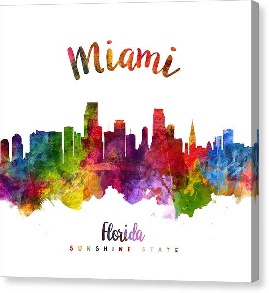 Miami Skyline Canvas Print - Miami Florida 23 by Aged Pixel
