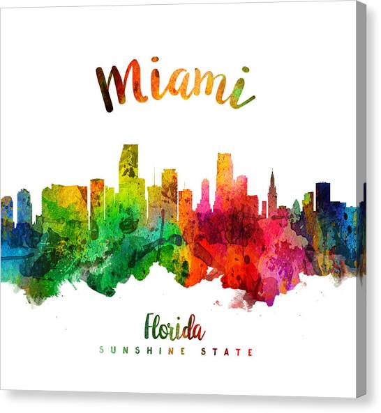 Miami Skyline Canvas Print - Miami Florida 24 by Aged Pixel