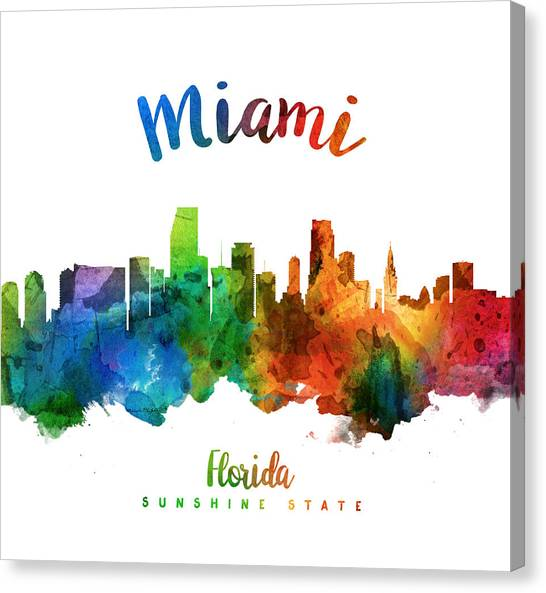 Miami Skyline Canvas Print - Miami Florida 25 by Aged Pixel