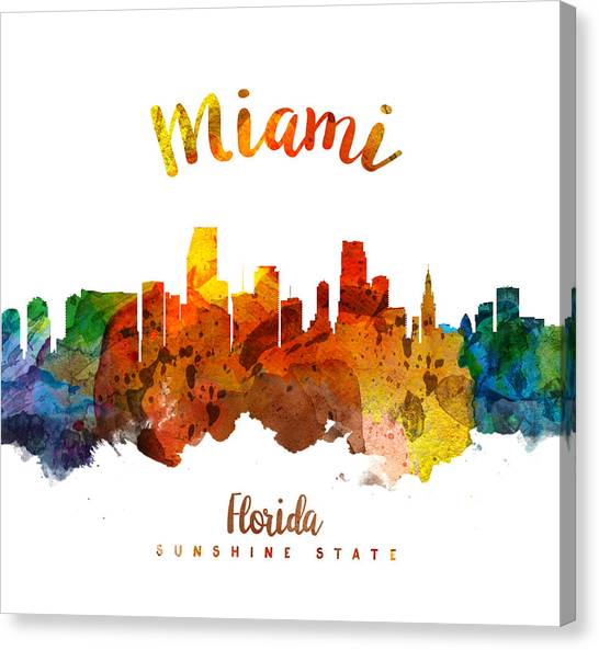 Miami Skyline Canvas Print - Miami Florida 26 by Aged Pixel