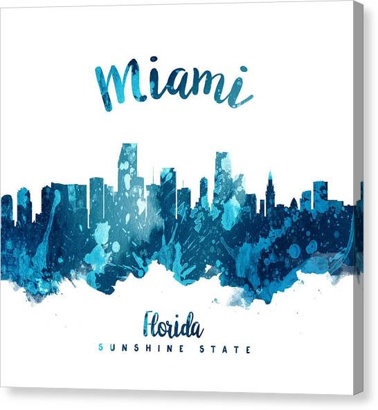 Miami Skyline Canvas Print - Miami Florida 27 by Aged Pixel