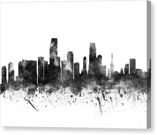 Miami Skyline Canvas Print - Miami Florida Cityscape 02bw by Aged Pixel