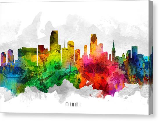 Miami Skyline Canvas Print - Miami Florida Cityscape 12 by Aged Pixel