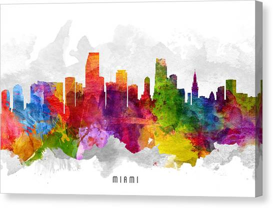 Miami Skyline Canvas Print - Miami Florida Cityscape 13 by Aged Pixel