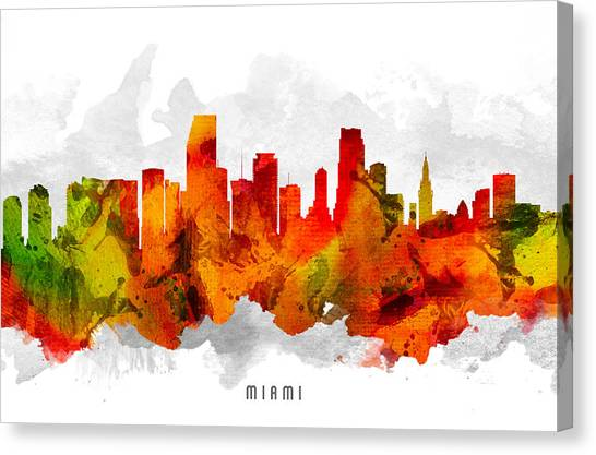 Miami Skyline Canvas Print - Miami Florida Cityscape 15 by Aged Pixel