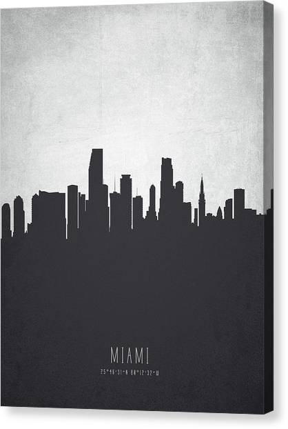 Miami Skyline Canvas Print - Miami Florida Cityscape 19 by Aged Pixel
