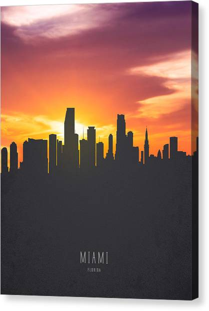 Miami Skyline Canvas Print - Miami Florida Sunset Skyline 01 by Aged Pixel