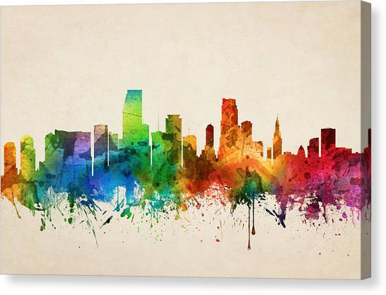 Miami Skyline Canvas Print - Miami Florida Skyline 05 by Aged Pixel
