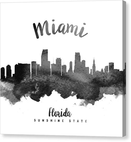 Miami Skyline Canvas Print - Miami Florida Skyline 18 by Aged Pixel