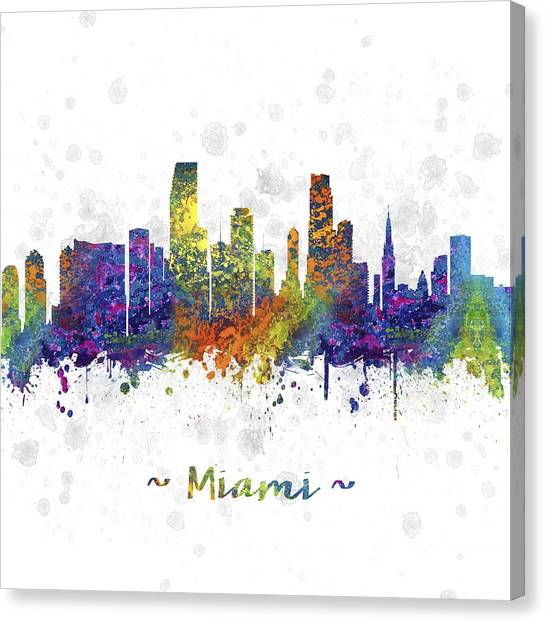 Miami Skyline Canvas Print - Miami Florida Skyline Color 03sq by Aged Pixel