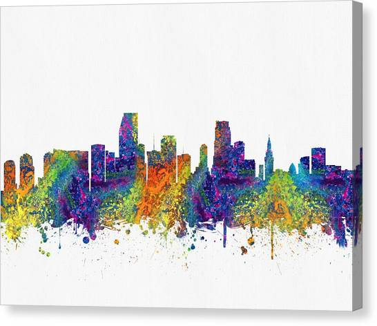 Miami Skyline Canvas Print - Miami Florida Skyline Color03 by Aged Pixel