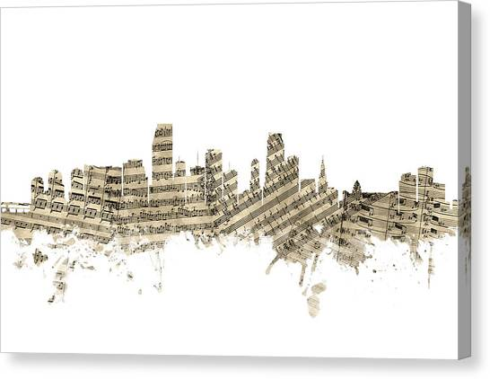 Miami Skyline Canvas Print - Miami Florida Skyline Sheet Music by Michael Tompsett