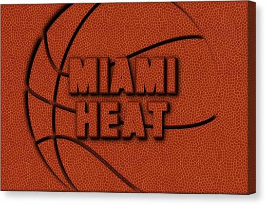 Miami Heat Canvas Print - Miami Heat Leather Art by Joe Hamilton