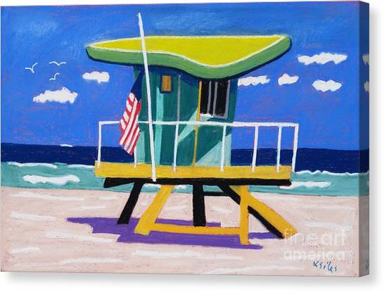 Miami Lime Green Hut Canvas Print by Lesley Giles