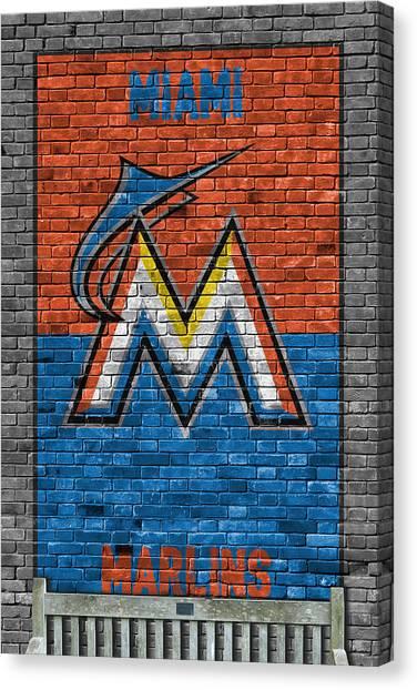 Miami Marlins Canvas Print - Miami Marlins Brick Wall by Joe Hamilton