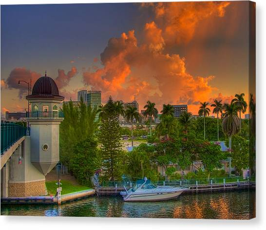 Miami River Bridge Canvas Print