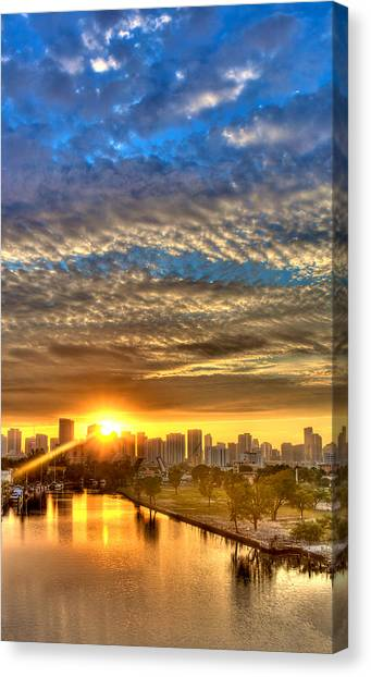 Miami River Sunrise Canvas Print by William Wetmore