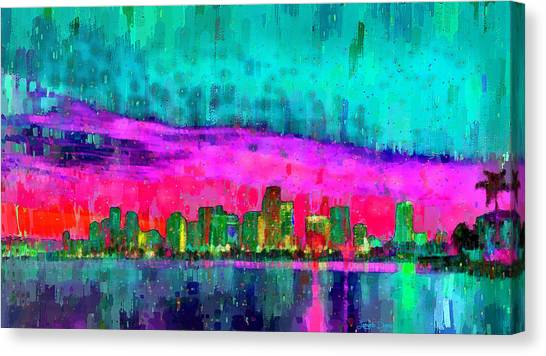 Fl Canvas Print - Miami Skyline 103 - Pa by Leonardo Digenio