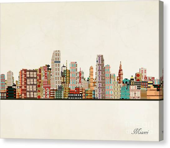 Miami Skyline Canvas Print - Miami Skyline by Bri Buckley