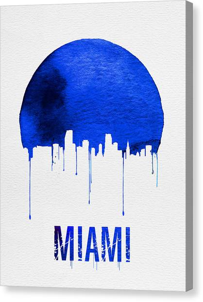 Miami Skyline Canvas Print - Miami Skyline Blue by Naxart Studio