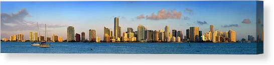 Miami Skyline Canvas Print - Miami Skyline In Morning Daytime Panorama by Jon Holiday