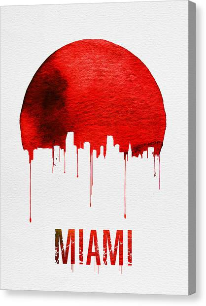 Miami Skyline Canvas Print - Miami Skyline Red by Naxart Studio