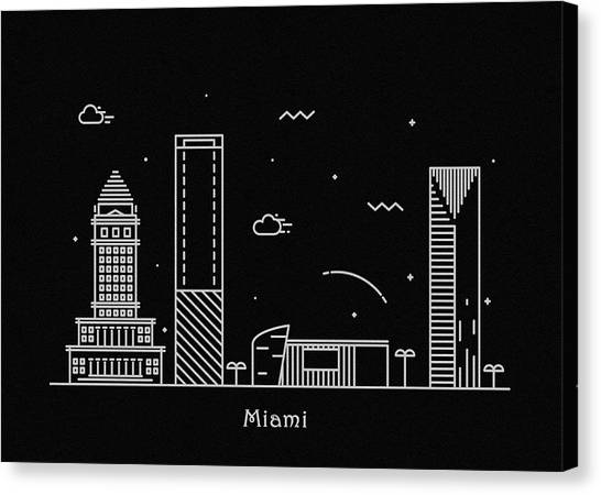 Miami Skyline Canvas Print - Miami Skyline Travel Poster by Inspirowl Design