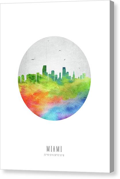 Miami Skyline Canvas Print - Miami Skyline Usflmi20 by Aged Pixel