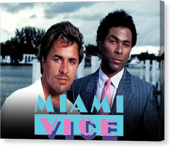 Golfers Canvas Print - Miami Vice by Super Lovely