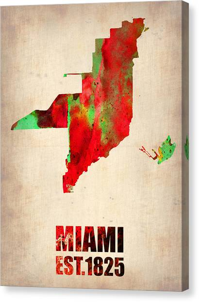 Florida Map Canvas Print - Miami Watercolor Map by Naxart Studio